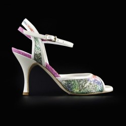 A 2 Glittery flowers Heel 9 cm