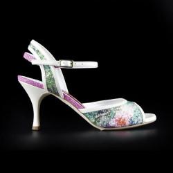 A 2 Glittery Flowers Heel 7 cm