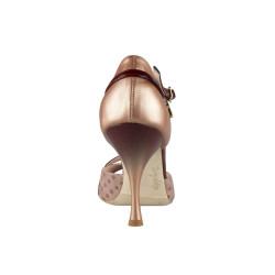 A8E Vernice caffelatte / Pizzo beige / Glitterino bronzo Tacco 9 cm
