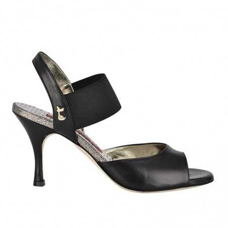 E 01 black leather Heel 7 cm