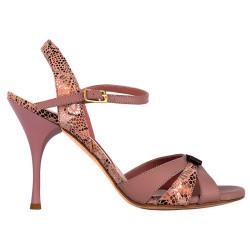 A 31 bis nappa rosa / mosaico Heel 9 cm