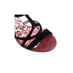 A 11 Camoscio nero Pizzo rosso Heel 9 cm