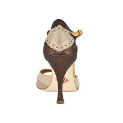 A 8 E Pizzo beige cappuccino bronzo Tacco 9 cm
