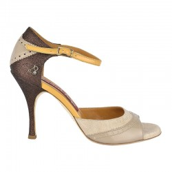 A 8 E Pizzo beige cappuccino bronzo Heel 9 cm