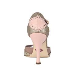 A 8 E Laminato platino Glitter rame rosa Heel 9 cm