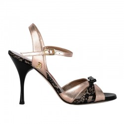 A 6 Pizzo nero carne Lam. rame Heel 9 cm