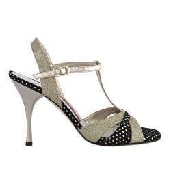 A 6 T Platinum glitter dots  Heel 9 cm