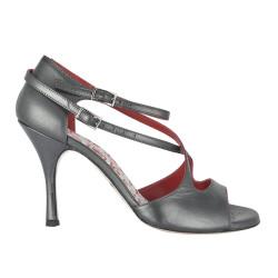 A 4 B Black pearl leather heel 9 cm
