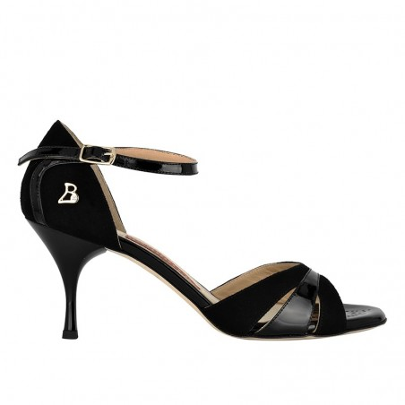A 3 black suede patent leather Heel 7 cm