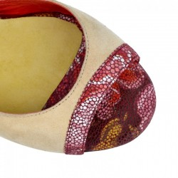 A 1 CL Camoscio Beige Red Flower Tacco 9 cm