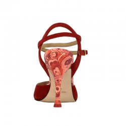 A 1 cl red suede printed flower Heel 9 cm