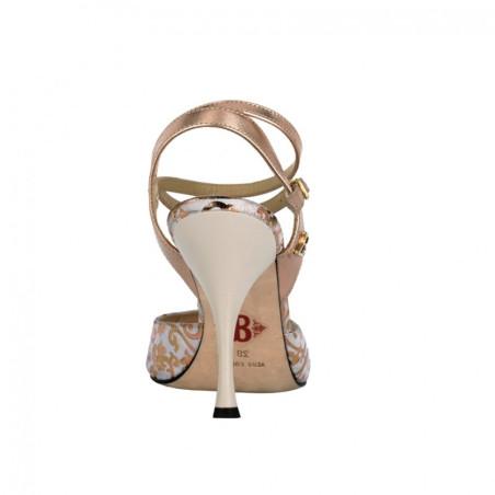 A 1 CL Camoscio begie Lam rame Tacco 9 cm