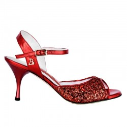 A1 Red glitter leather heel 7