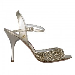 A 1 platinum glitter leather Heel 9 cm
