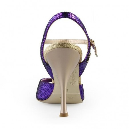 A 1 Purple printed leather Heel 8 cm