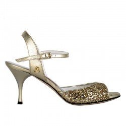 A 1 Platinum glitter leather Heel 7 cm