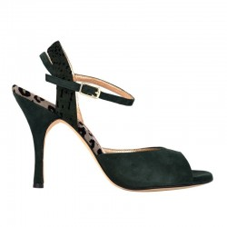 A 2 Camoscio verde / maculato Heel 9 cm