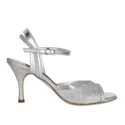 A 2 New silver glitter Heel 7 cm